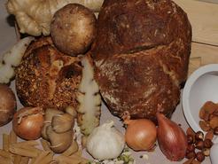 Féculents, pain, amandes, graines et oignons