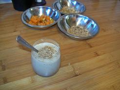 Cappuccino de cèpes, éclats de châtaignes et potimarron